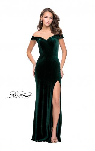 Picture of: Long Off the Shoulder Velvet Gown with Open Back, Style: 25400, Detail Picture 2