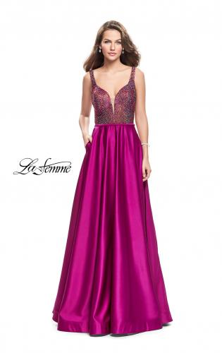Picture of: Long Satin Dress with A Line Skirt and Beaded Top, Style: 25348, Main Picture
