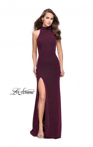 Picture of: Sparkly Jersey Long Dress with High Neckline and Front Slit, Style: 25404, Main Picture