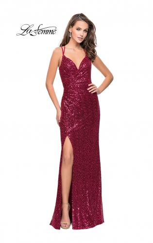 Picture of: Long Sequin Prom Dress with Side Ruching, Style: 25492, Main Picture