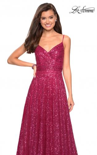 Picture of: sequin Empire Waist Prom Dress with V Back, Style: 27747, Main Picture