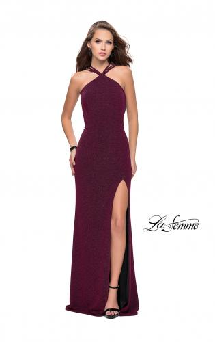 Picture of: Long Sparkly Dress with High Neckline and Side Slit, Style: 25346, Back Picture