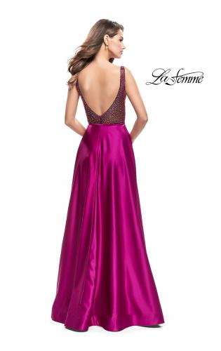 Picture of: Long Satin Dress with A Line Skirt and Beaded Top, Style: 25348, Back Picture