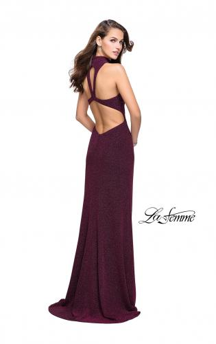 Picture of: Sparkly Jersey Long Dress with High Neckline and Front Slit, Style: 25404, Back Picture