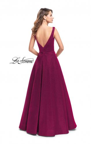 Picture of: High Neck Sparkling A-line Dress with Strappy Open Back, Style: 25895, Back Picture