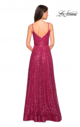 Picture of: sequin Empire Waist Prom Dress with V Back, Style: 27747, Back Picture