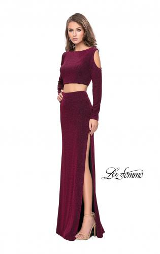 Picture of: Two Piece Cold Shoulder Prom Dress with Side Skirt Slit, Style: 25256, Detail Picture 1