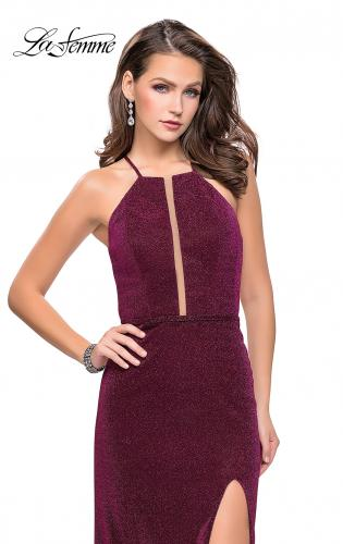 Picture of: Sparkling Jersey Prom Dress with High Neck and Slit, Style: 25769, Detail Picture 1