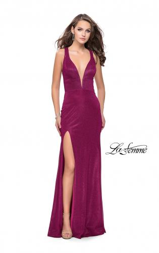Picture of: Long Jersey Prom Dress with Racer Back and V Neckline, Style: 25882, Detail Picture 1