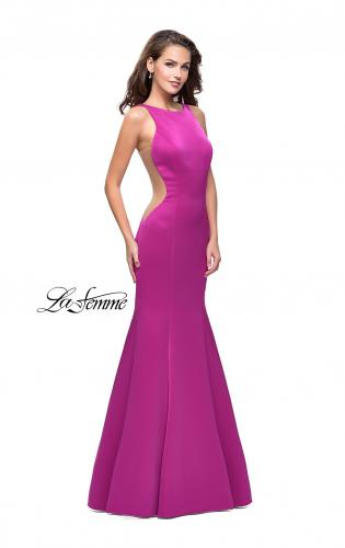 Picture of: Satin Mermaid Prom Gown with Mesh and Scoop Back, Style: 26076, Detail Picture 1