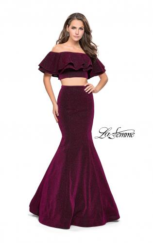 Picture of: Long Sparkling Off the Shoulder Jersey Prom Dress, Style: 26324, Detail Picture 1