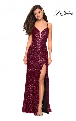 5447cfe4 ... Back Picture of: Long Sequin Gown with Plunging Sweetheart Neckline,  Style: 26937, ...