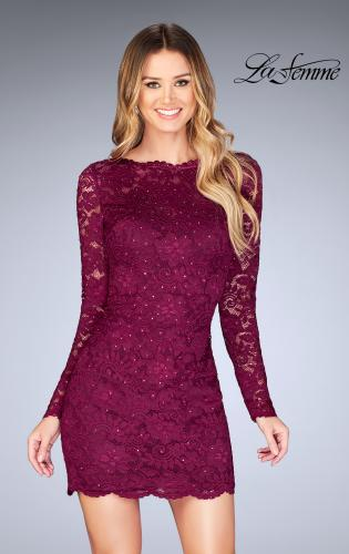 Picture of: Long Sleeve Short Lace Dress with Open Strappy Back, Style: 25134, Main Picture