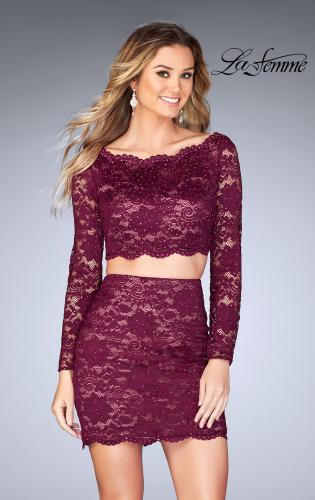 Picture of: Lace Two Piece Dress with Scalloped Neckline, Style: 25301, Main Picture