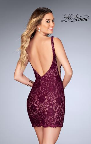 Picture of: Deep V Short Lace Dress with Illusion Sheet Sides, Style: 25025, Back Picture