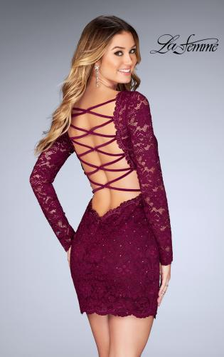 Picture of: Long Sleeve Short Lace Dress with Open Strappy Back, Style: 25134, Back Picture