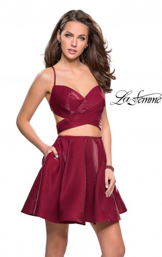 Picture of: Short Two Piece Homecoming Dress Set with Wrap Top, Style: 26683, Detail Picture 1