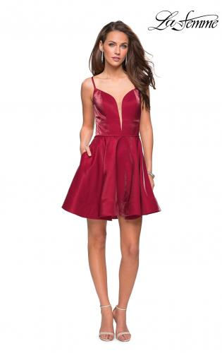 Picture of: Fit and Flare Satin Short Dress with Deep Neckline, Style: 26659, Detail Picture 2