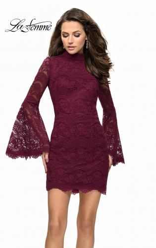 Picture of: Lace Bell Sleeve Homecoming Dress with High Neckline, Style: 26668, Detail Picture 2
