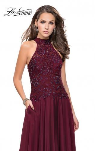 Picture of: Long A line Chiffon Dress with High Neck Lace Up Top, Style: 25355, Main Picture