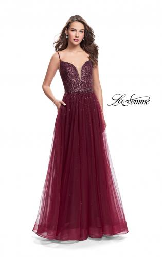 Picture of: A-line Dress with Rhinestones and Tulle Skirt, Style: 25636, Main Picture