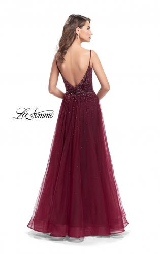 Picture of: A-line Dress with Rhinestones and Tulle Skirt, Style: 25636, Back Picture
