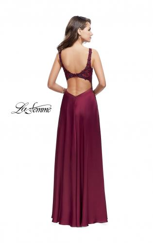 Picture of: Long Prom Dress with Beaded Lace Bodice and Open Back, Style: 25645, Back Picture