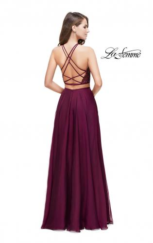 Picture of: Two Piece A-line Dress with Halter Neck and Beading, Style: 25843, Back Picture
