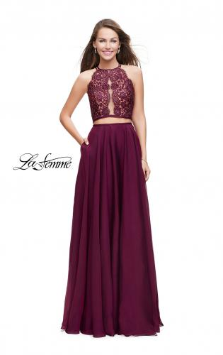 Picture of: Two Piece A-line Dress with Halter Neck and Beading, Style: 25843, Detail Picture 1
