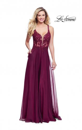 Picture of: Chiffon A-line Dress with Beaded Lace Bodice, Style: 26082, Detail Picture 1