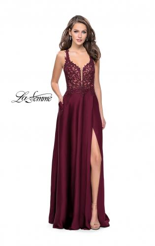 Picture of: Beaded and Embroidered Lace Prom Dress with Slit, Style: 26124, Detail Picture 1