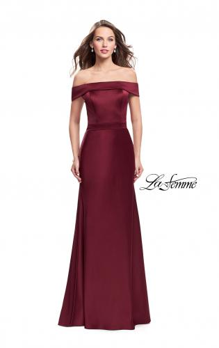 Picture of: Satin Off the Shoulder Dress with Trumpet Silhouette, Style: 25579, Detail Picture 2