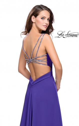 Picture of: Satin A-line Prom Dress with Beading and an Open Back, Style: 25611, Back Picture