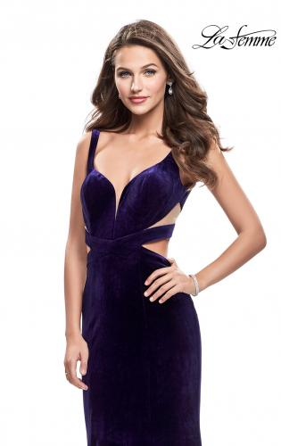 Picture of: Form Fitting Velvet Mermaid Gown with Side Cut Outs, Style: 25866, Detail Picture 1
