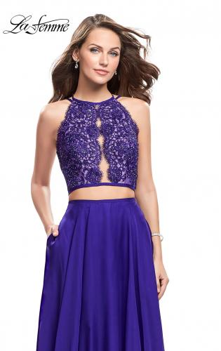 Picture of: Two Piece A-line Dress with Halter Neck and Beading, Style: 25843, Detail Picture 2