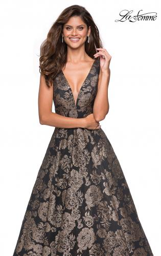 Picture of: Metallic Floral Prom Gown with V Neckline and Pockets, Style: 27482, Main Picture