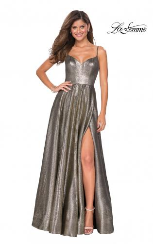 a0917f03aa Picture of: Metallic A-line Prom Gown with Side Leg Slit, ...