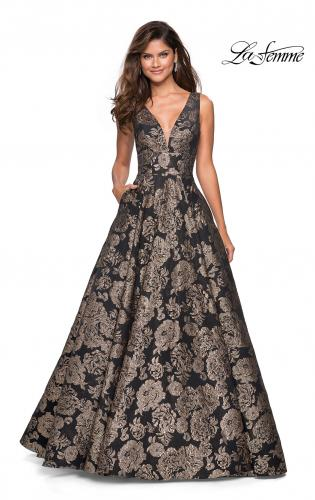Picture of: Metallic Floral Prom Gown with V Neckline and Pockets, Style: 27482, Detail Picture 1