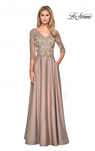 74aef43fd474 ... Picture of: Floor Length Satin Dress wirh Lace Detail and Pockets,  Style: 27235