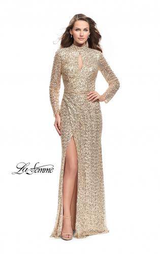 Picture of: Long Sleeve Sequin High Neck Prom Dress with Slit, Style: 26263, Main Picture