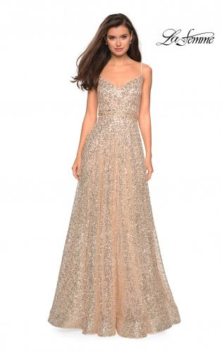 Picture of: sequin Empire Waist Prom Dress with V Back, Style: 27747, Detail Picture 2