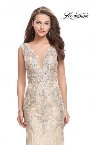 Picture of: Form Fitting Mermaid Lace Dress with Metallic Beading, Style: 26125, Detail Picture 1
