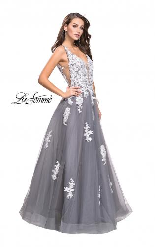 Picture of: Long Tulle Ball Gown with Lace Applique and Side Cut Outs, Style: 25624, Detail Picture 1