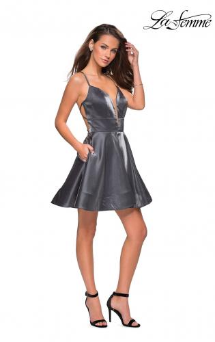 Picture of: Fit and Flare Satin Short Dress with Deep Neckline, Style: 26659, Detail Picture 1