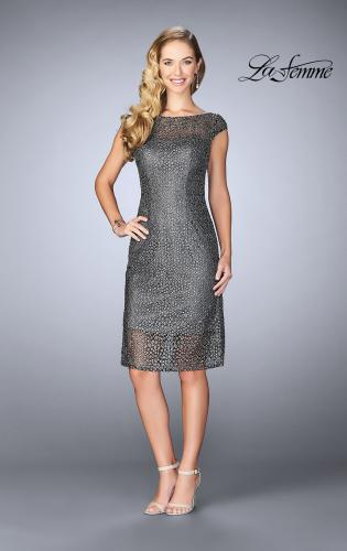 Picture of: Short Lace Dress with Sheer Top Neckline and Hem, Style: 24905, Main Picture