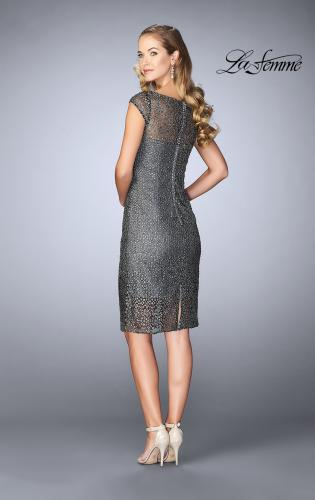 Picture of: Short Lace Dress with Sheer Top Neckline and Hem, Style: 24905, Back Picture