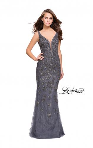 Picture of: Form Fitting Prom Dress with Metallic Beading and V Neck, Style: 26054, Main Picture