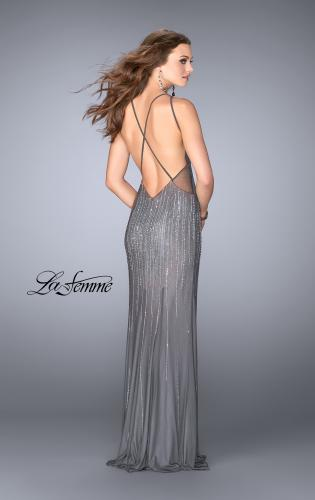 Picture of: Beaded Gown with Low Back and High Neckline, Style: 24790, Back Picture