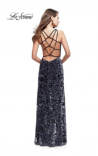Picture of: Long Velvet Patterned Dress with Open Strappy Back, Style: 25512, Back Picture