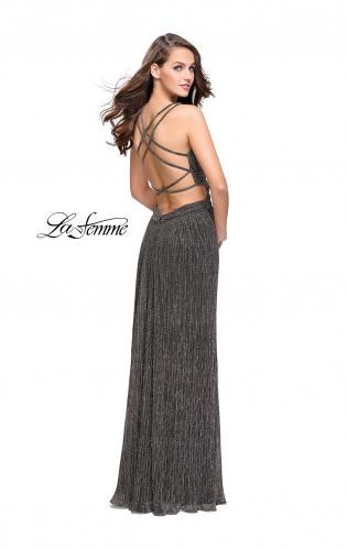Picture of: Pleated Lame Prom Dress with Cut Outs and a Deep V, Style: 25643, Back Picture